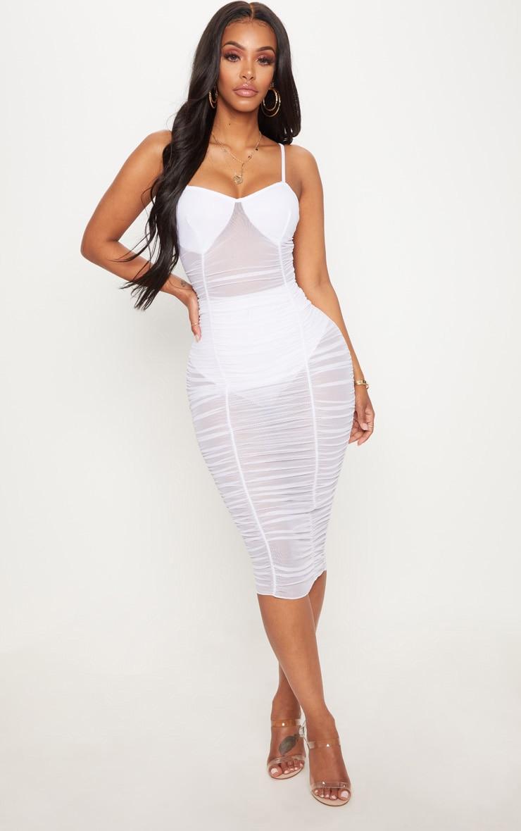 Shape White Ruched Strappy Mesh Longline Midi Dress 1
