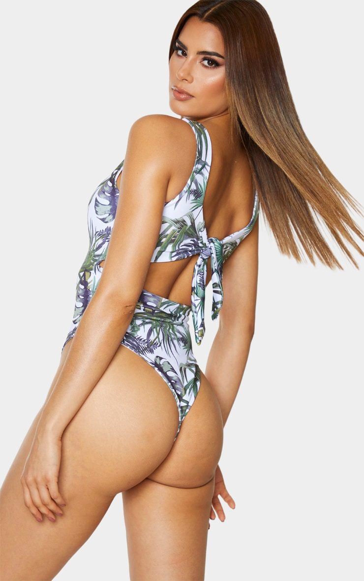 Tall White Tropical Knot Back Swimsuit 4