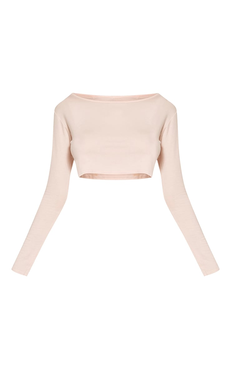 Basic Nude Long Sleeve Crop Top 5