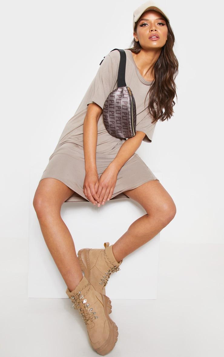 Taupe Basic Short Sleeve T Shirt Dress 4