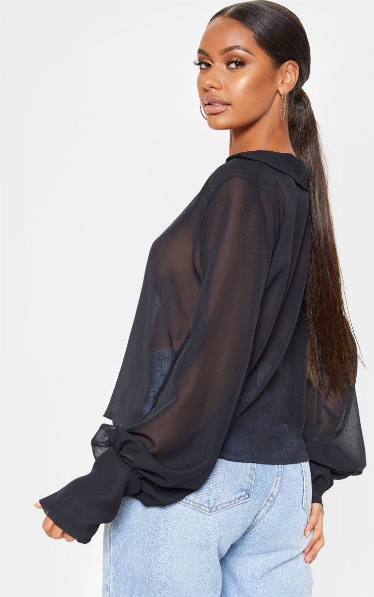 Black Sheer Bell Sleeve Blouse  2