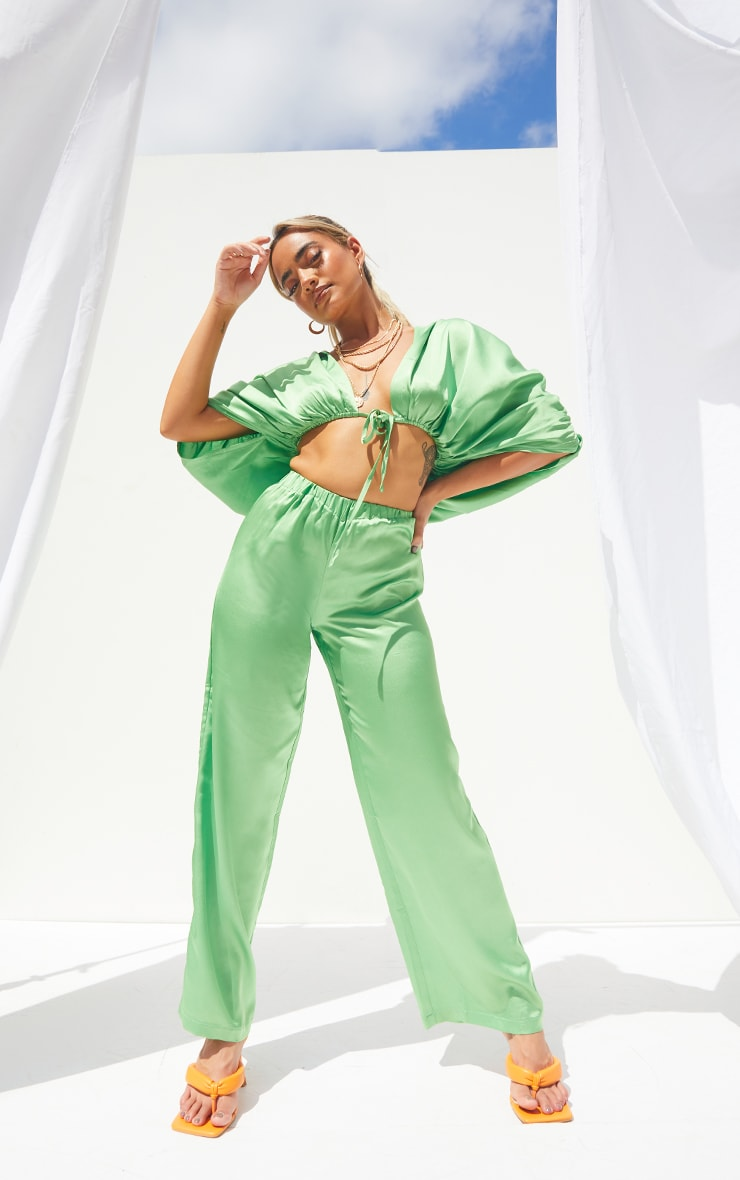 Petite Green Satin Plunge Cropped Shirt 3
