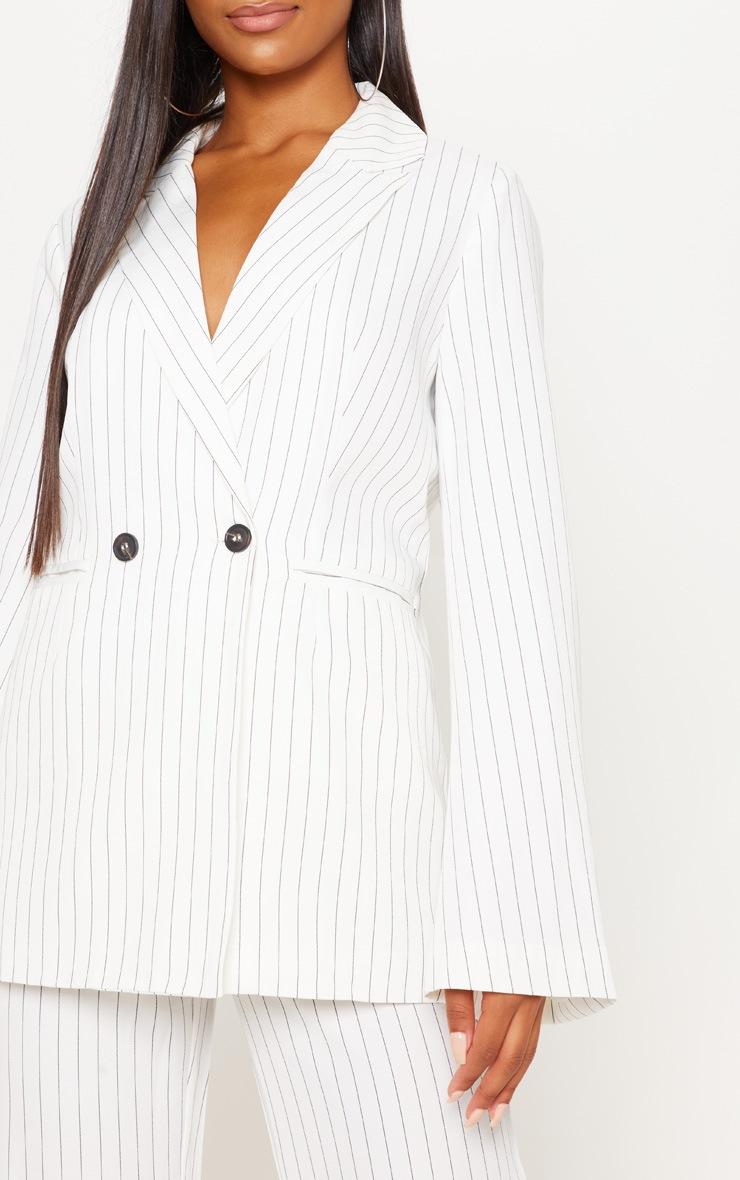 Cream Pinstripe Longline Oversized Woven Blazer 5