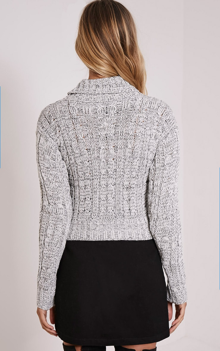 Brook Grey Cable Knit Roll Neck Crop Jumper 2