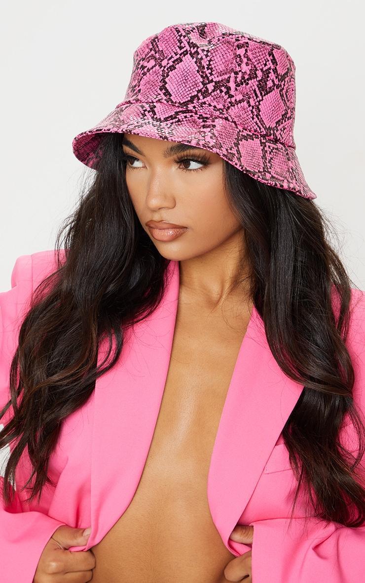 Neon Pink Snake Skin Bucket Hat 1