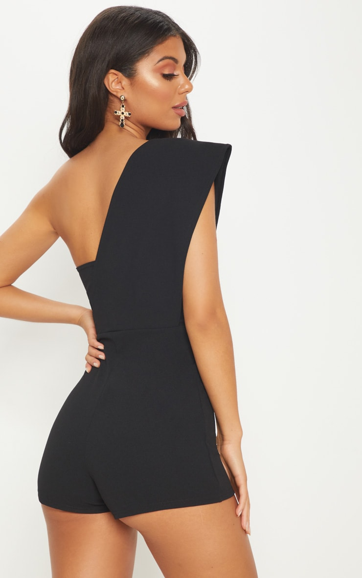 Black Drape One Shoulder Romper 2