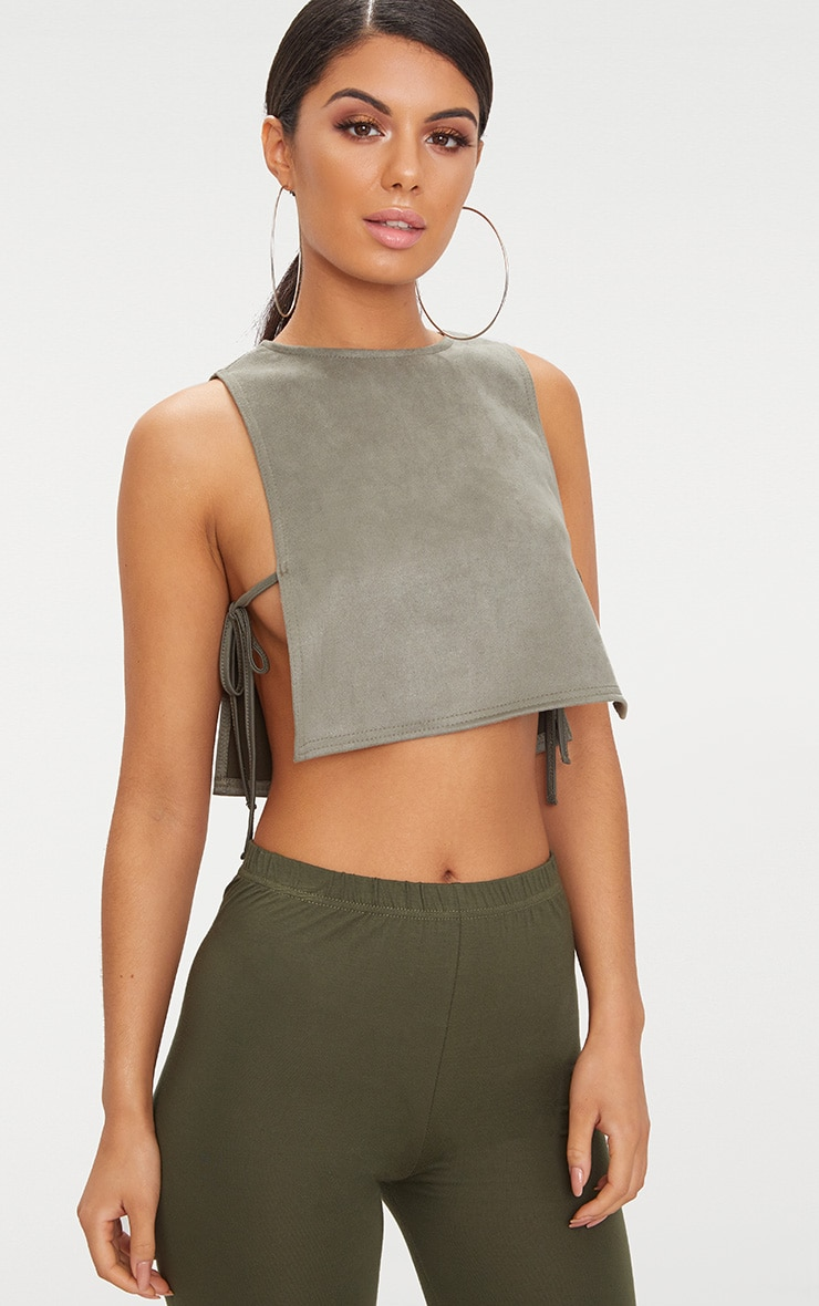Khaki Suedette Open Tie Side Crop Top 1