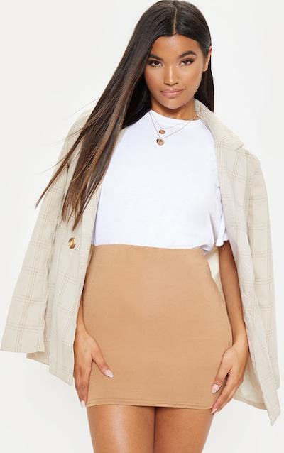 Basic Camel Jersey Mini Skirt