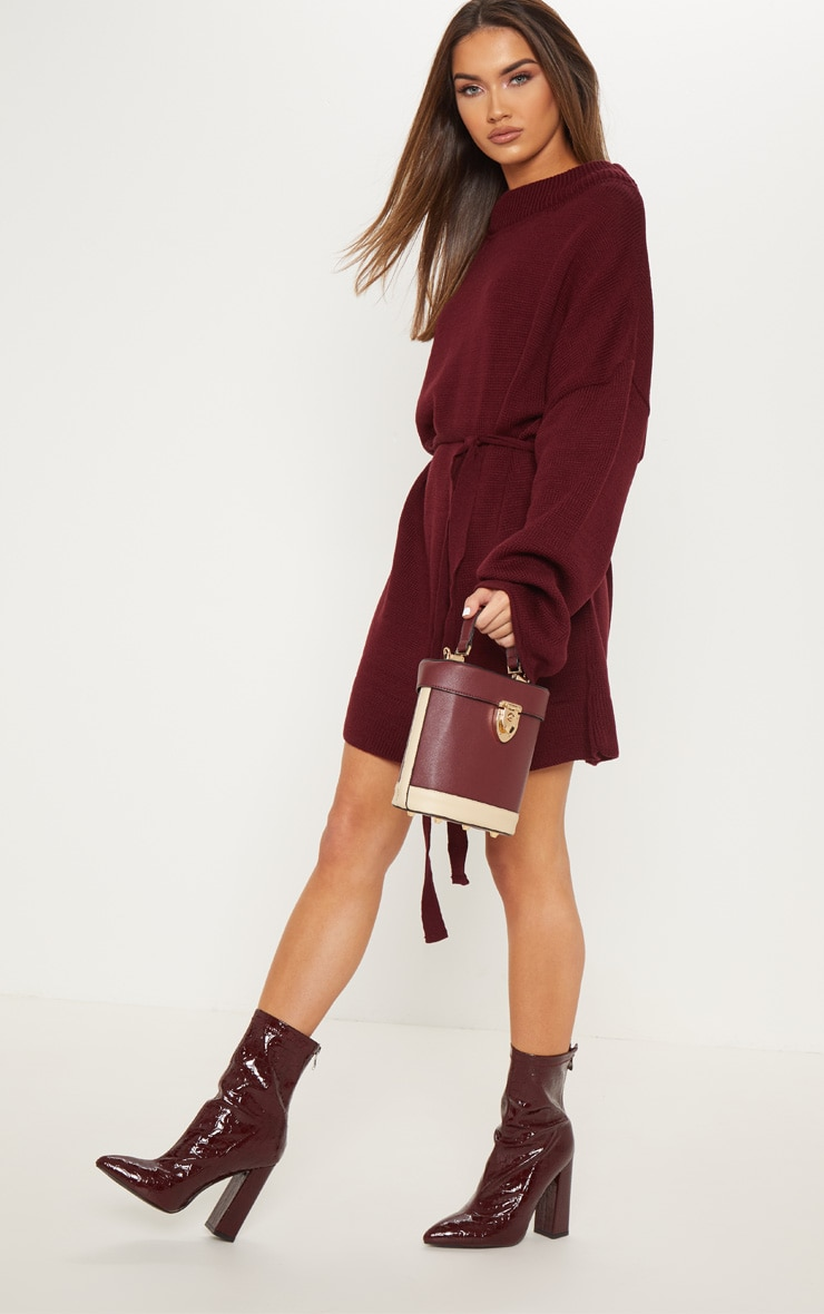 Burgundy Oversized Knitted Belted Dress  4