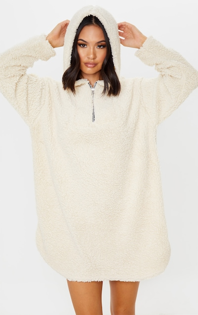Cream Borg Zip Neck Hoodie Oversized Jumper Dress