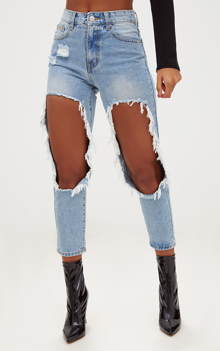 Light Wash Extreme Open Thigh Straight Leg Jean 2