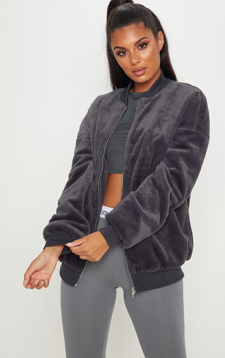 Charcoal Faux Fur Longline Bomber Jacket