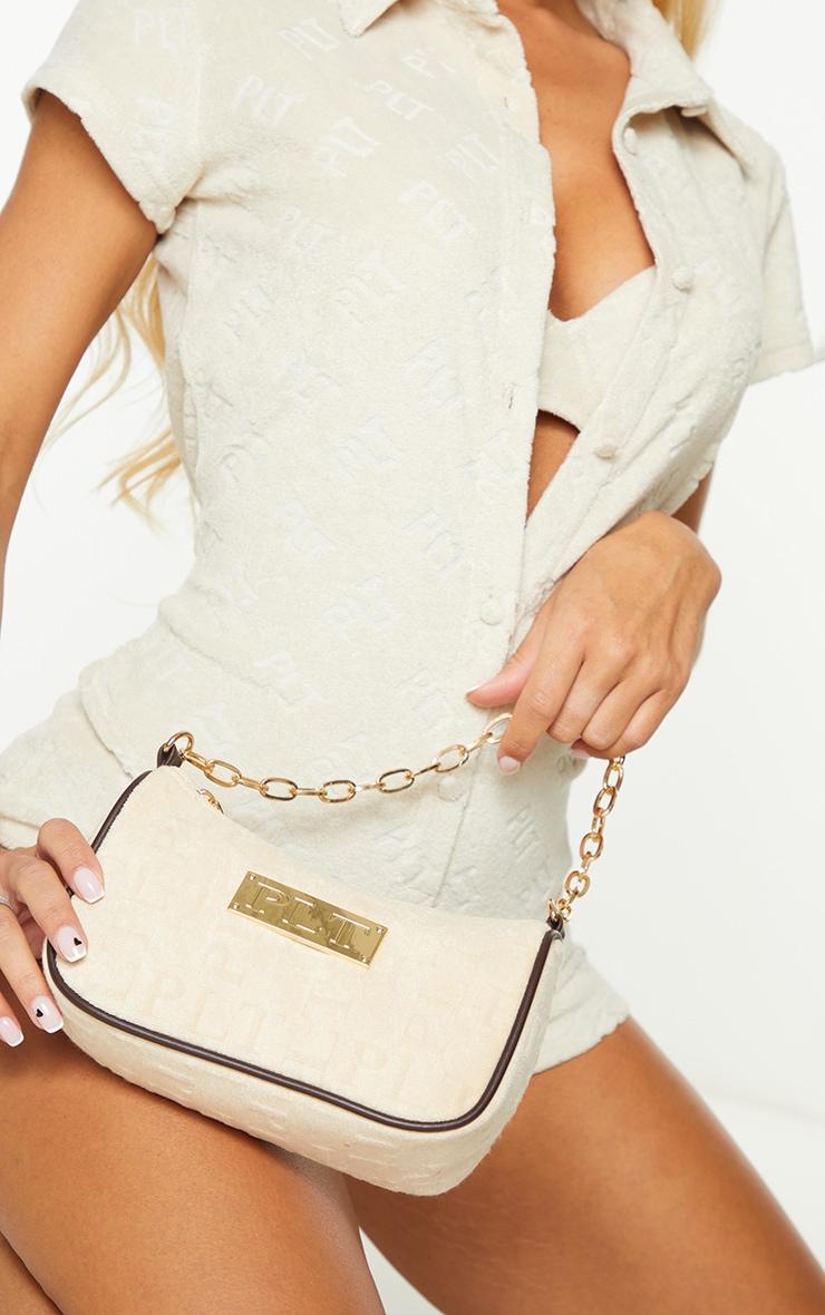 PRETTYLITTLETHING Cream Embossed Gold Chain Shoulder Bag 3
