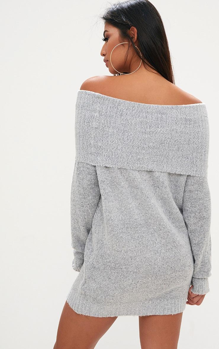 Grey Oversized Bardot Jumper Dress 2