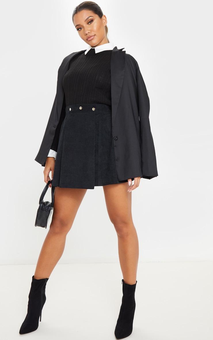 Black Cord Skater Skirt  5