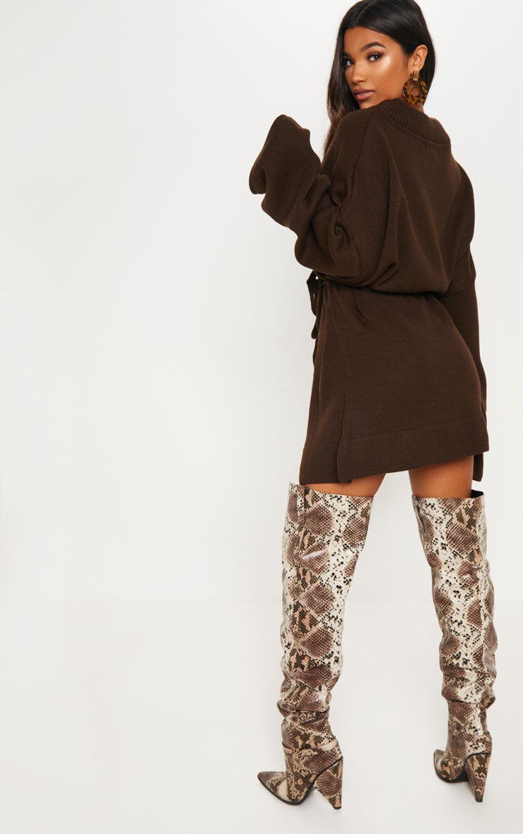 Brown Oversized Knitted Belted Dress  2