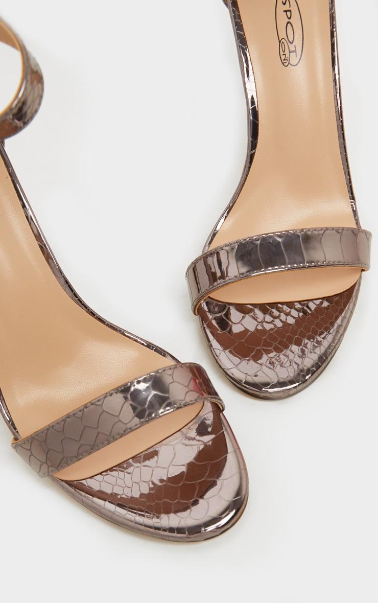 Pewter Croc Embossed Holographic Sandal 4