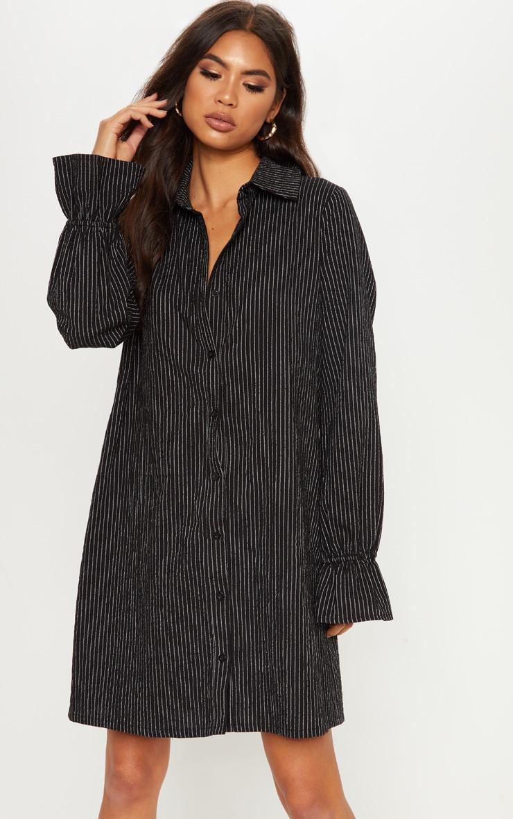 Monochrome Stripe Frill Detail Sleeve Oversized Shirt Dress by Prettylittlething
