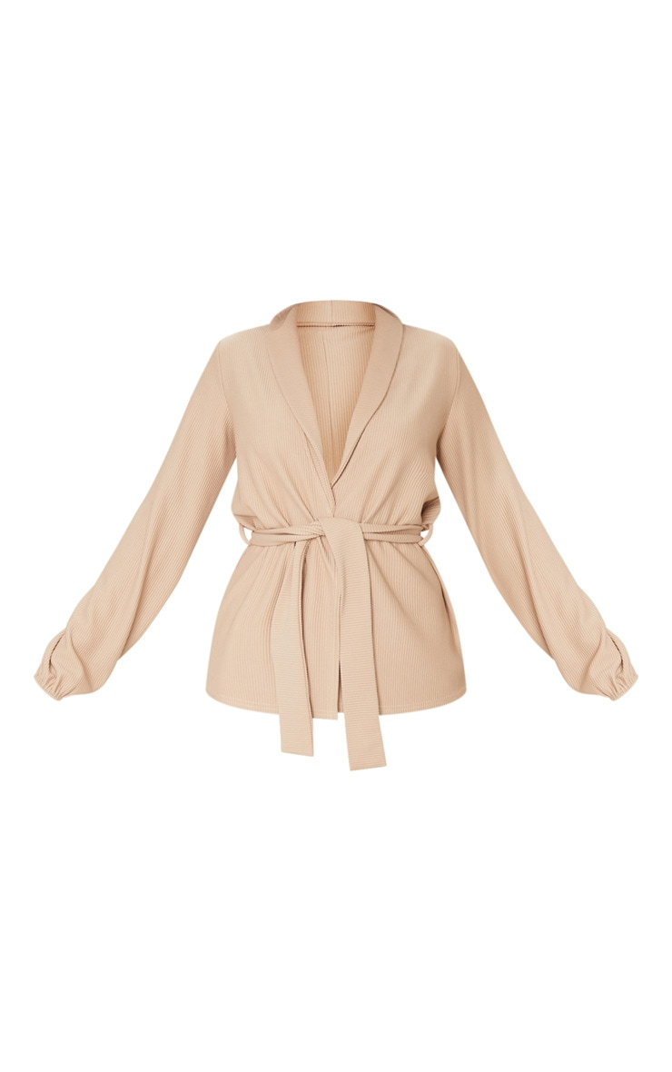 Taupe Wide Rib Belted Balloon Sleeve Blazer 5