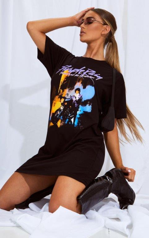 Prince Purple Rain Slogan Black T Shirt Dress 3