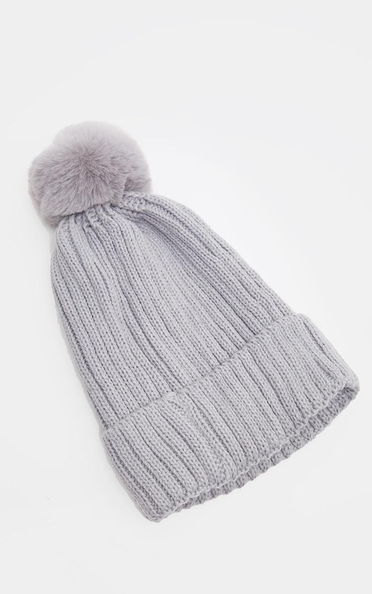 Grey Rib Knit Pom Pom Beanie Hat 2