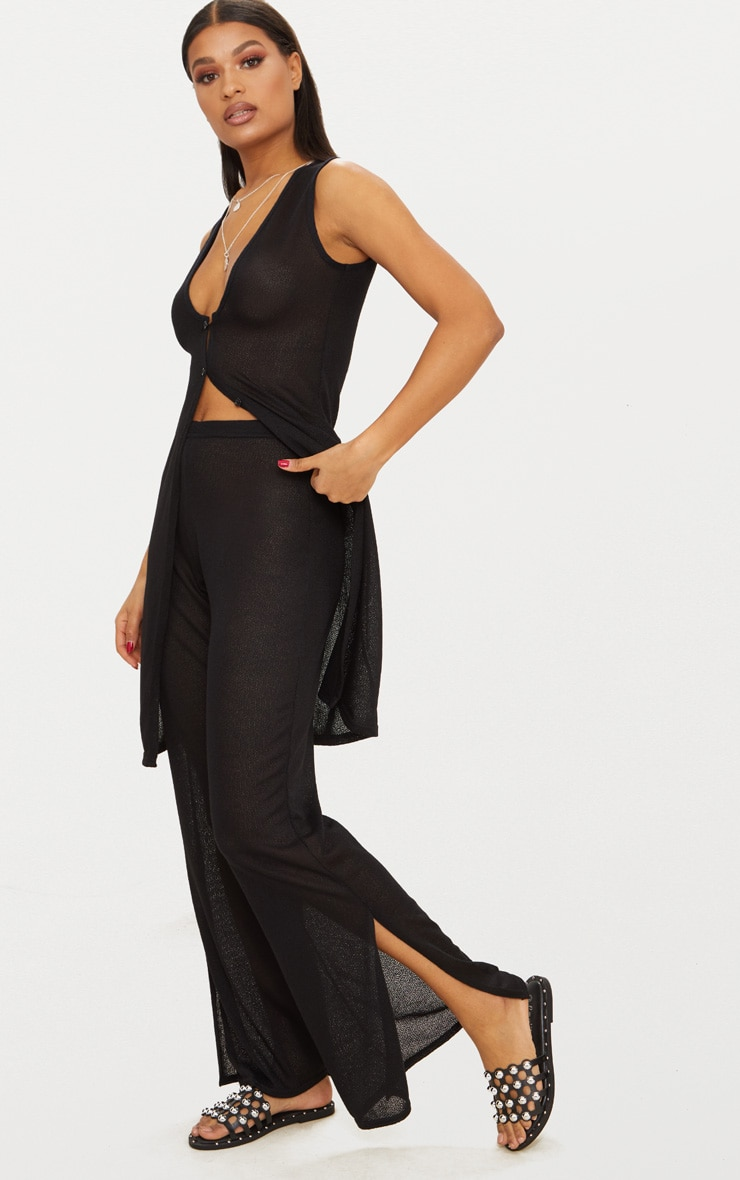 Black Lightweight Knit Wide Leg Trouser