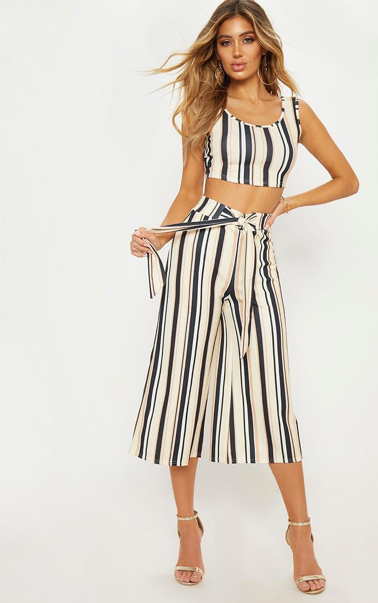 Sand Stripe Tie Waist Culotte