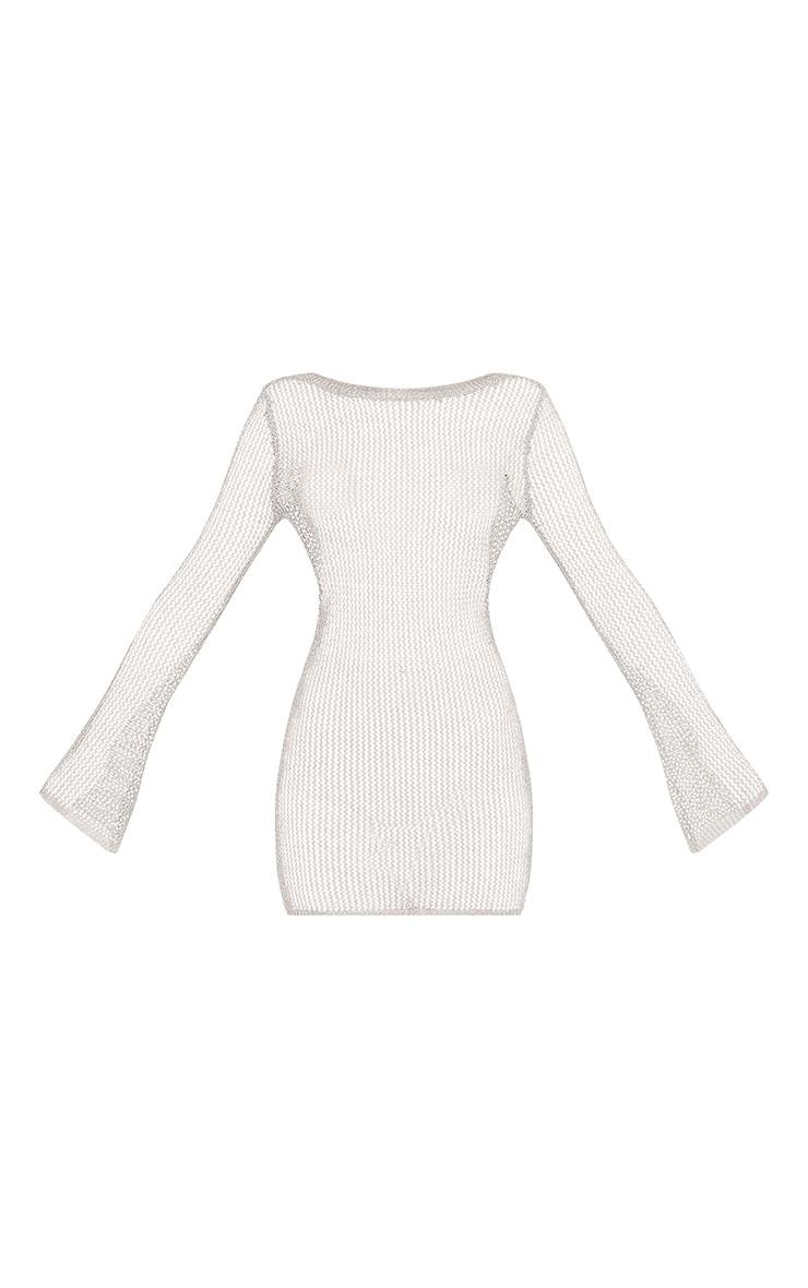 Eshe robe mini transparente à manches cloches argent métallisé 3