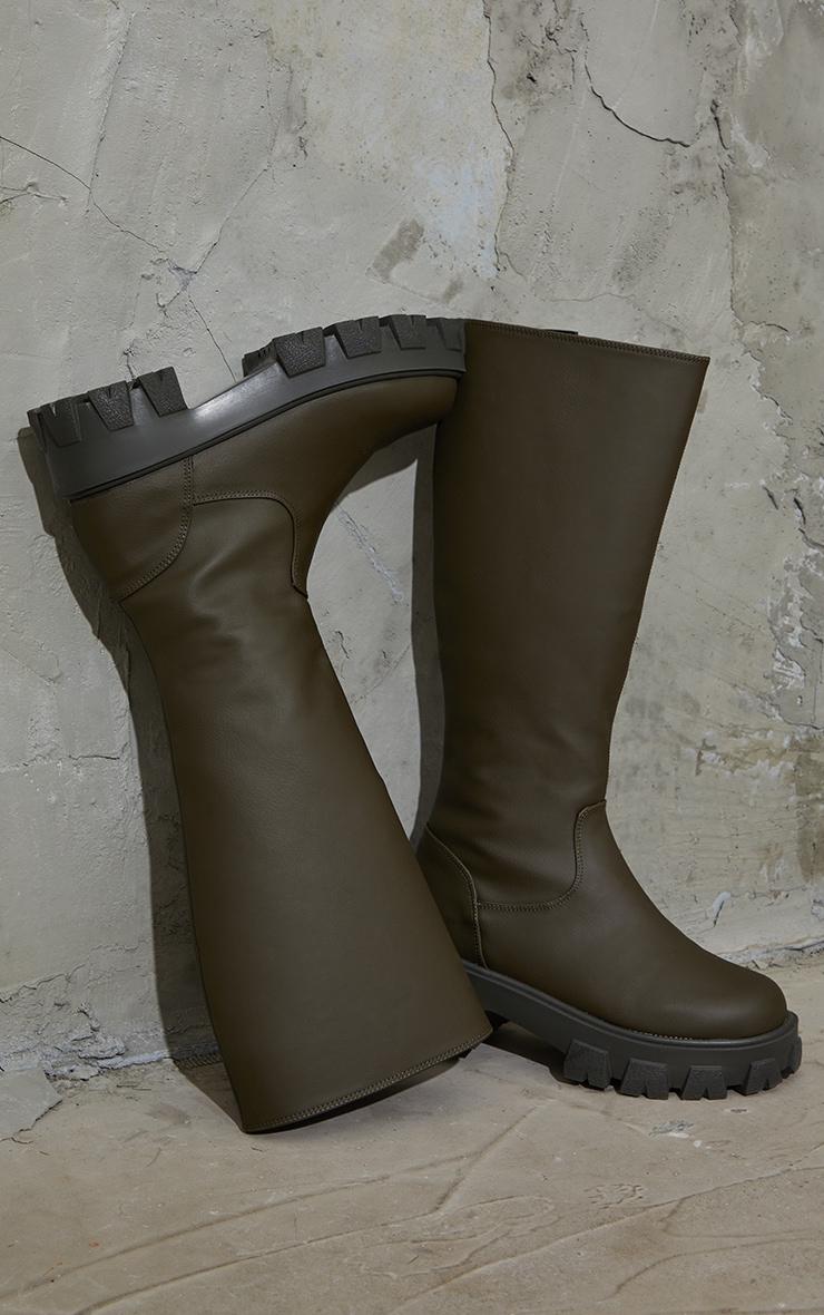 Khaki PU Cleated Sole Chunky Rain Boots 3