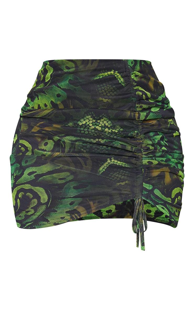 Shape Khaki Snake Print Mesh Ruched Front Bodycon Skirt 6