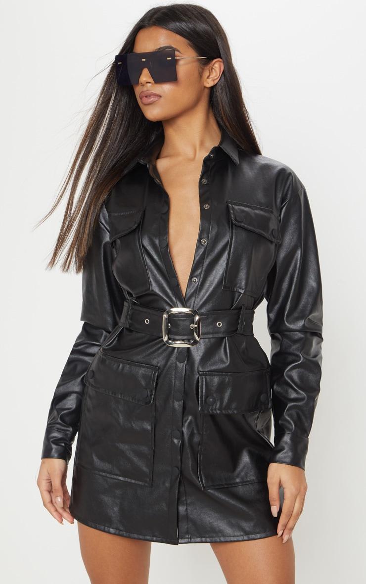 Black Faux Leather Pocket Belt Shift Dress