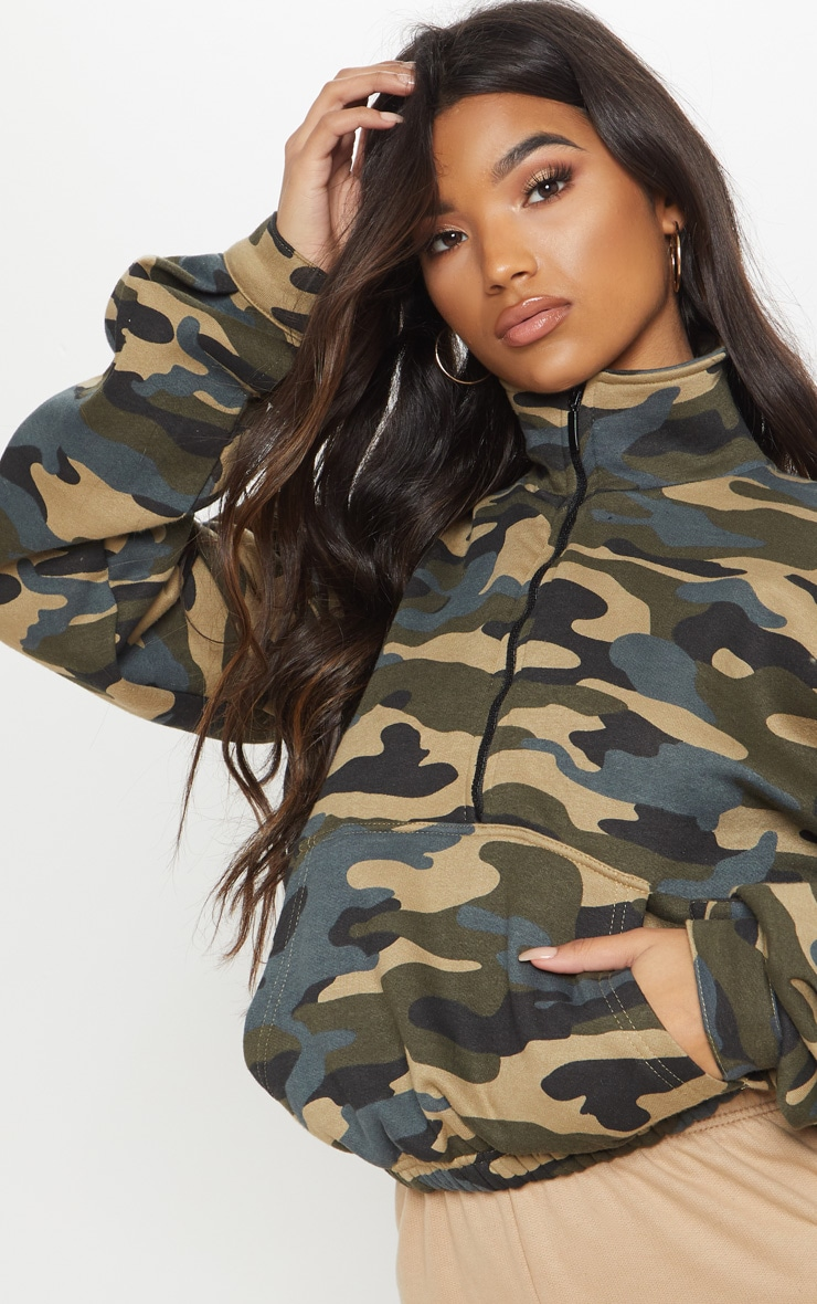 Green Camo Oversized Zip Front Sweater  5