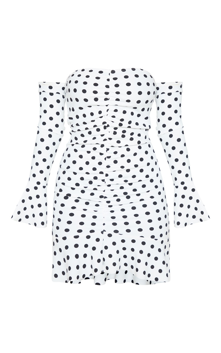 Petite White Polka Dot Bardot Ruched Bodycon Dress 3