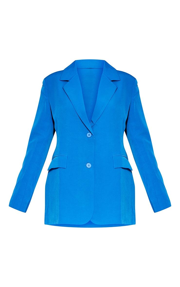 Blue Woven Cut Out Oversized Blazer 5
