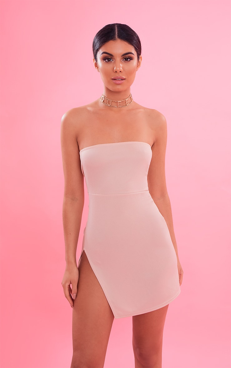 Nude Crepe Split Side Bandeau Bodycon Dress 5