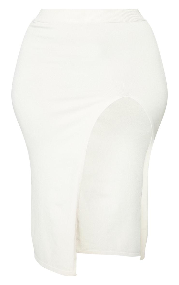 Plus Cream Fine Split Knit Midi Skirt 5