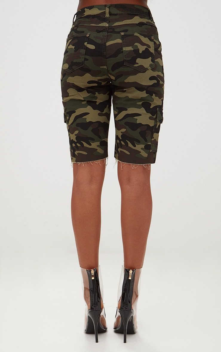 Camouflage Mid Length Denim Shorts 4