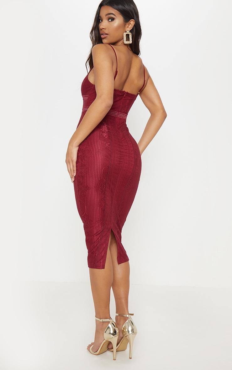 Burgundy Lace Mesh Stripe Insert Midi Dress 2