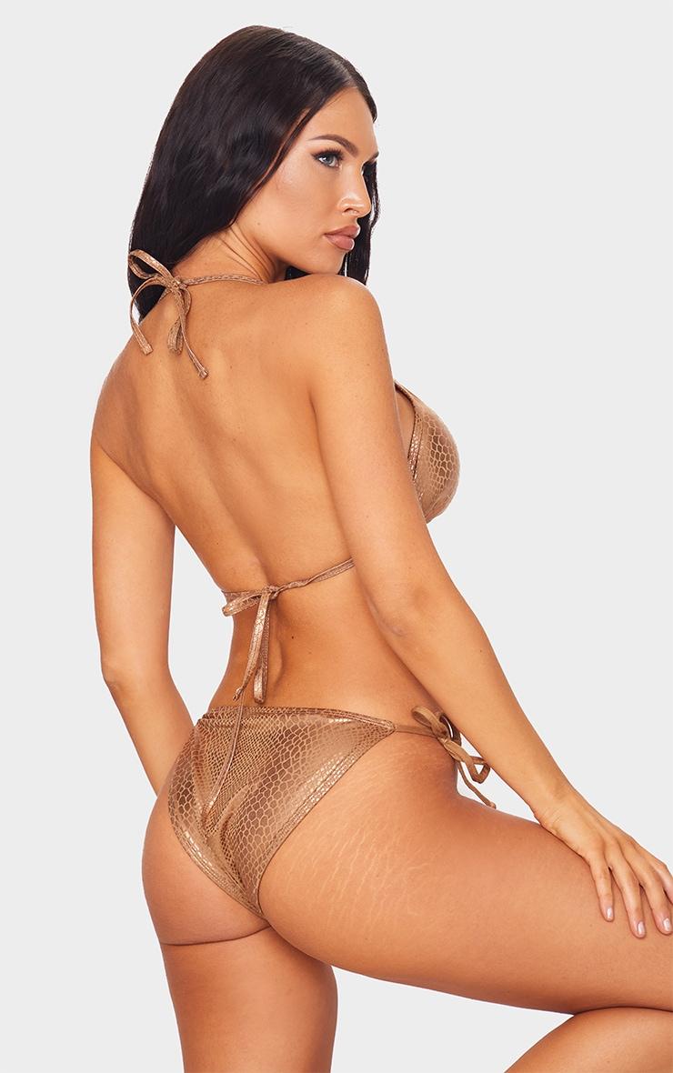 Brown Metallic Snake Padded Triangle Bikini Top 2