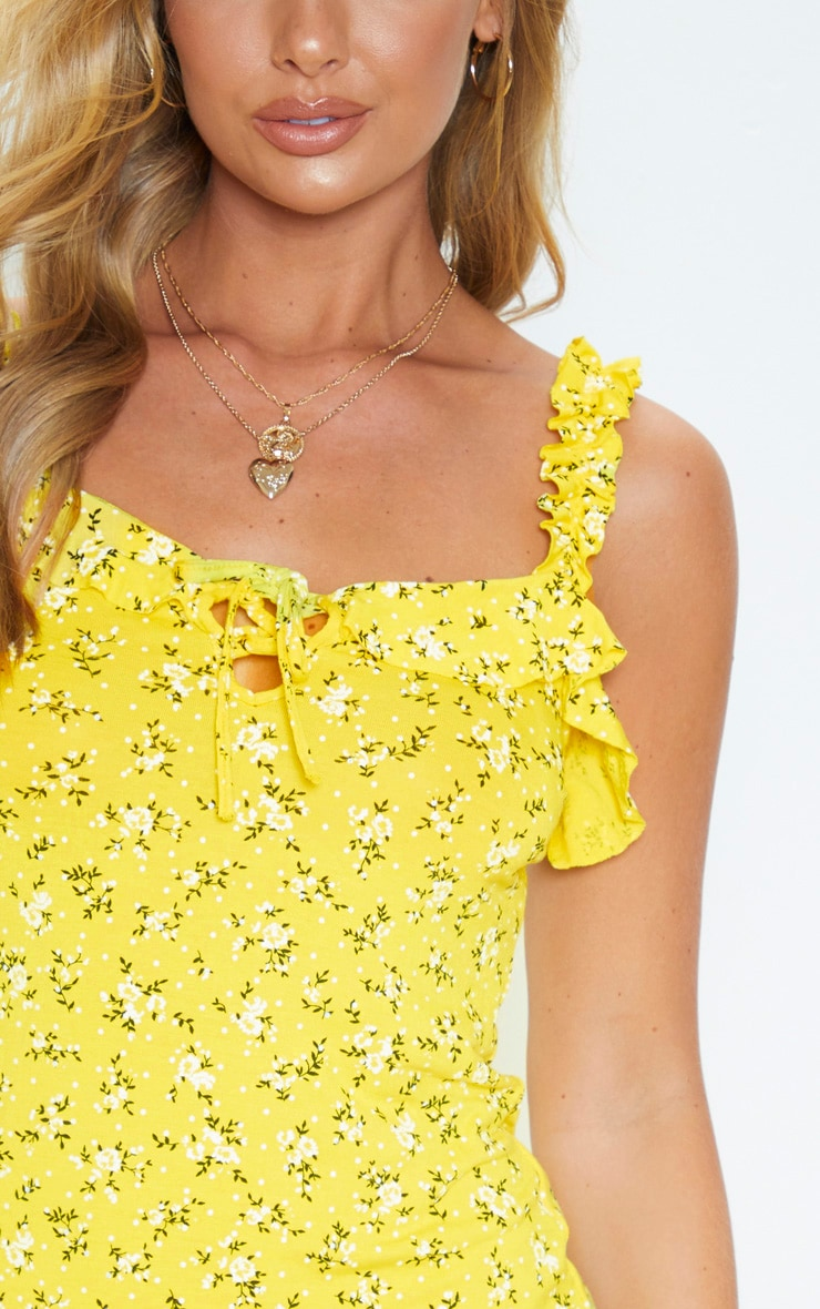 Yellow Ditsy Floral Frill Detail Shift Dress 5