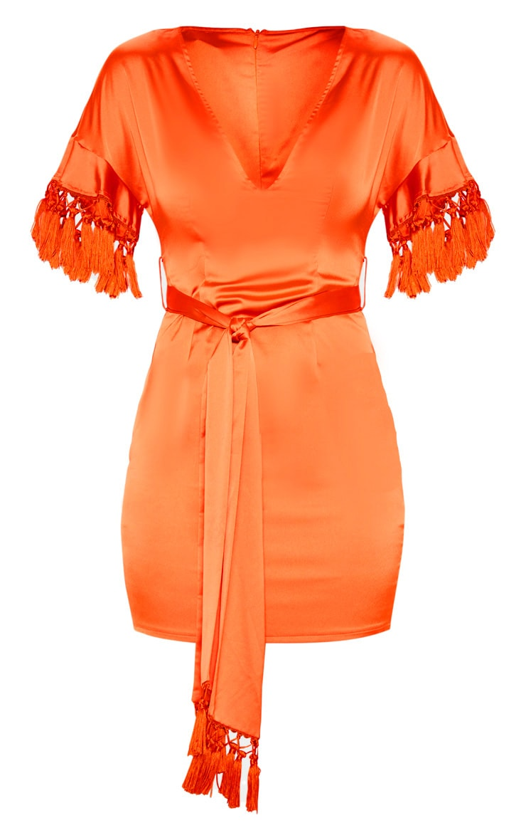 Orange Satin Tassel Tie Waist Bodycon Dress 3
