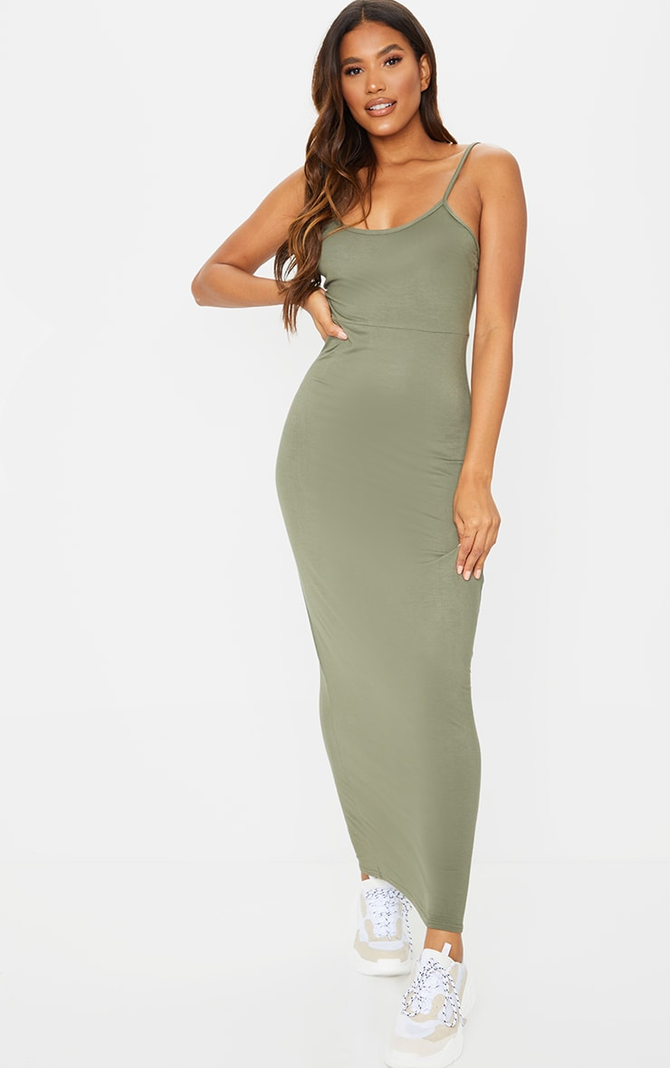 Khaki Jersey Scoop Strappy Maxi Dress 2