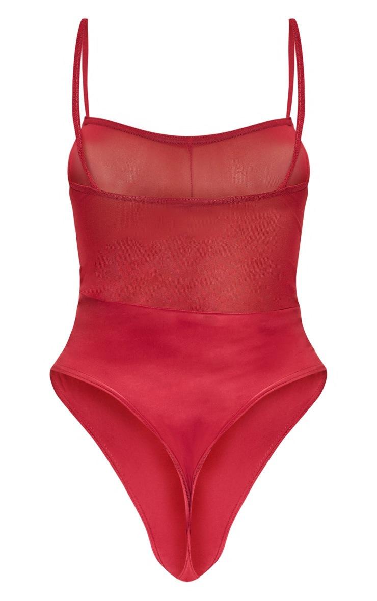 Scarlet Strappy Mesh Seam Detail Bodysuit 4