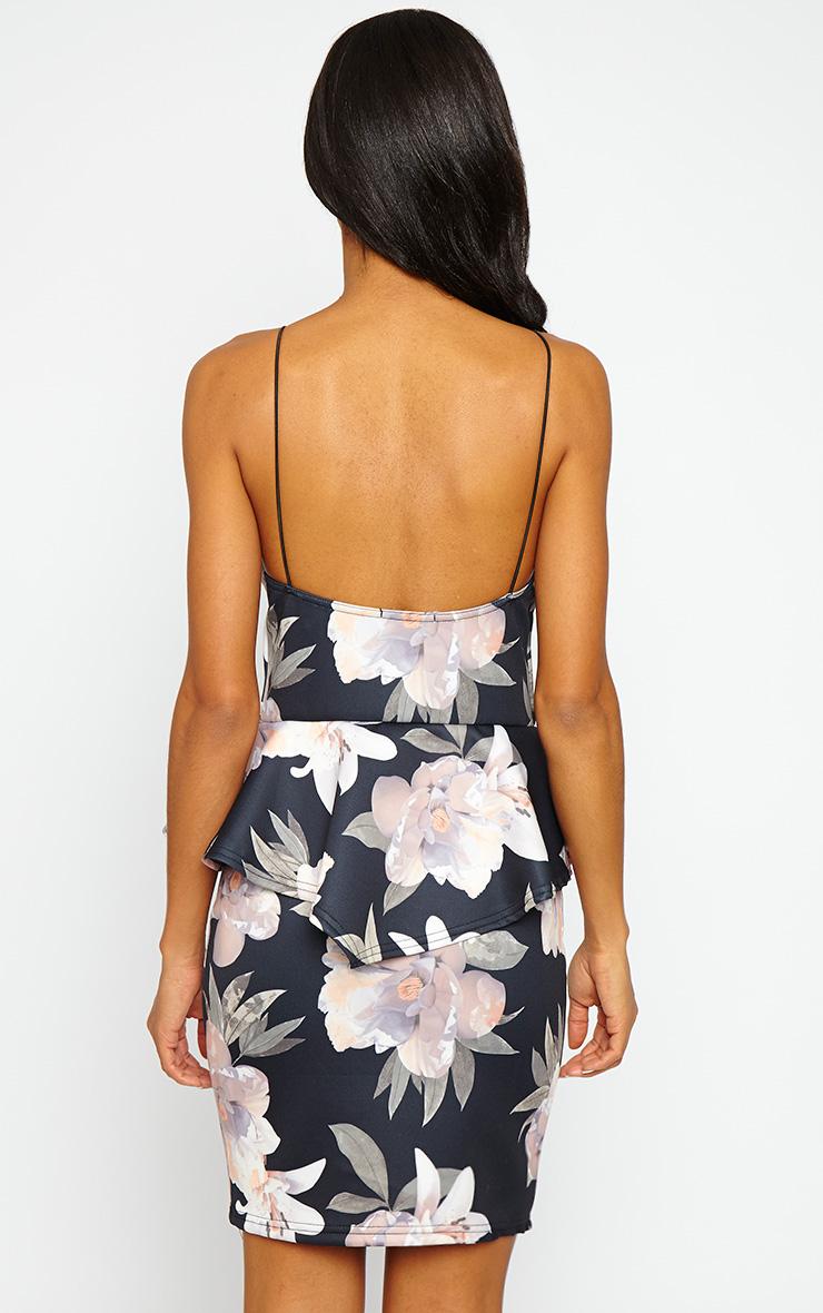 Miri Floral Pleated Peplum Dress 2