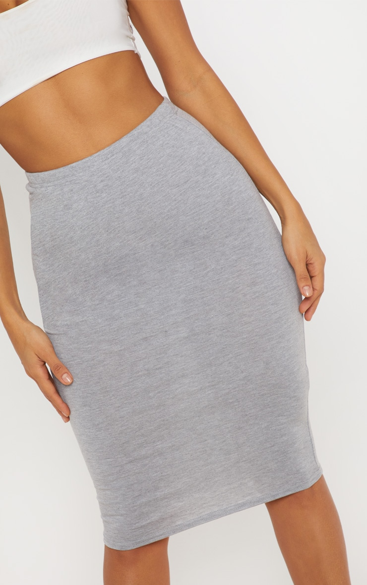 Grey Maroon and Taupe Basic Jersey Midi Skirt 3 Pack 5