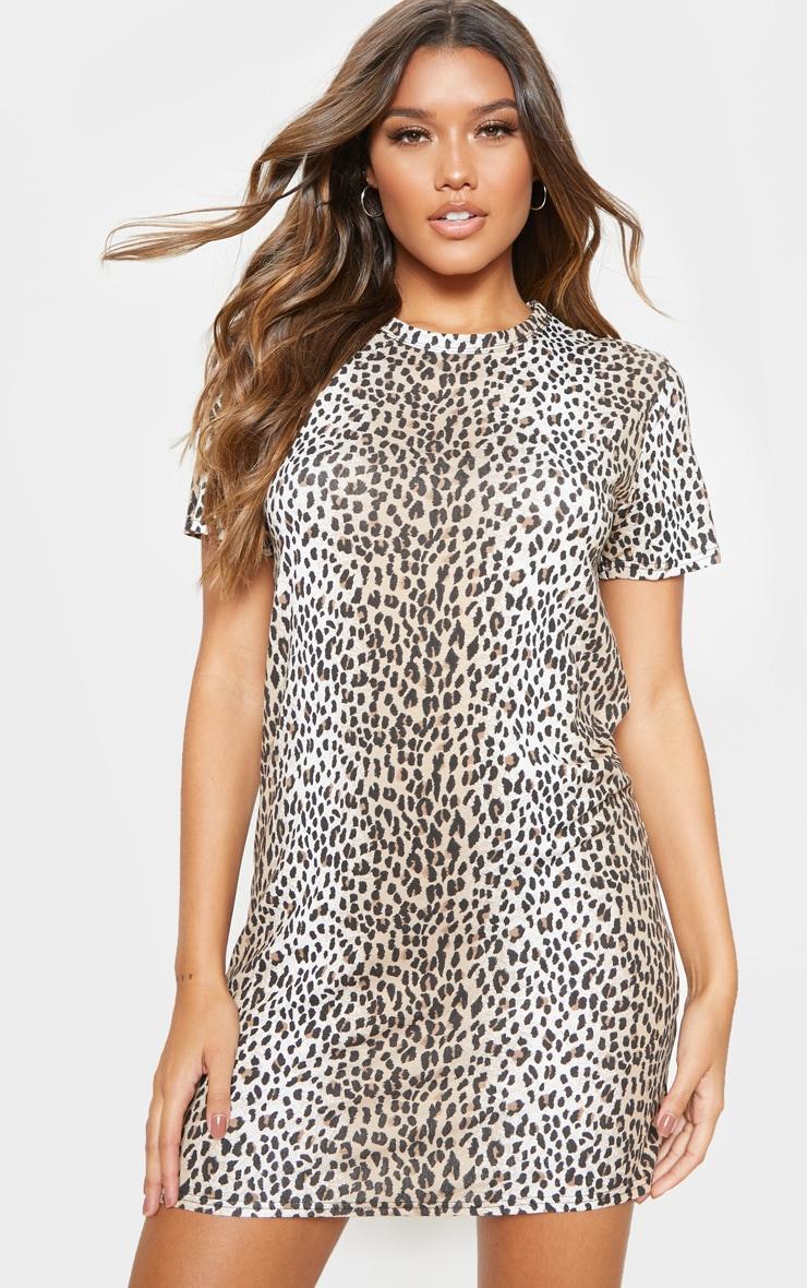 Basic Leopard Print Short Sleeve T shirt Dress  1