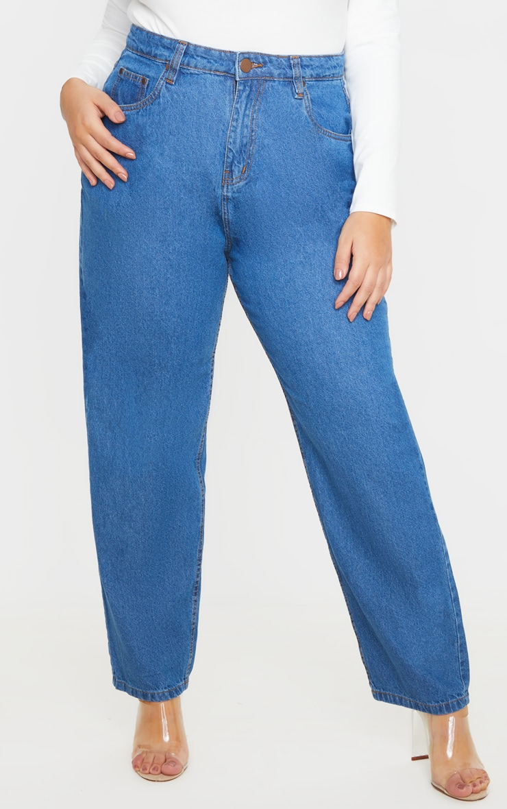 Plus Mid Wash Slim Mom Jean 2