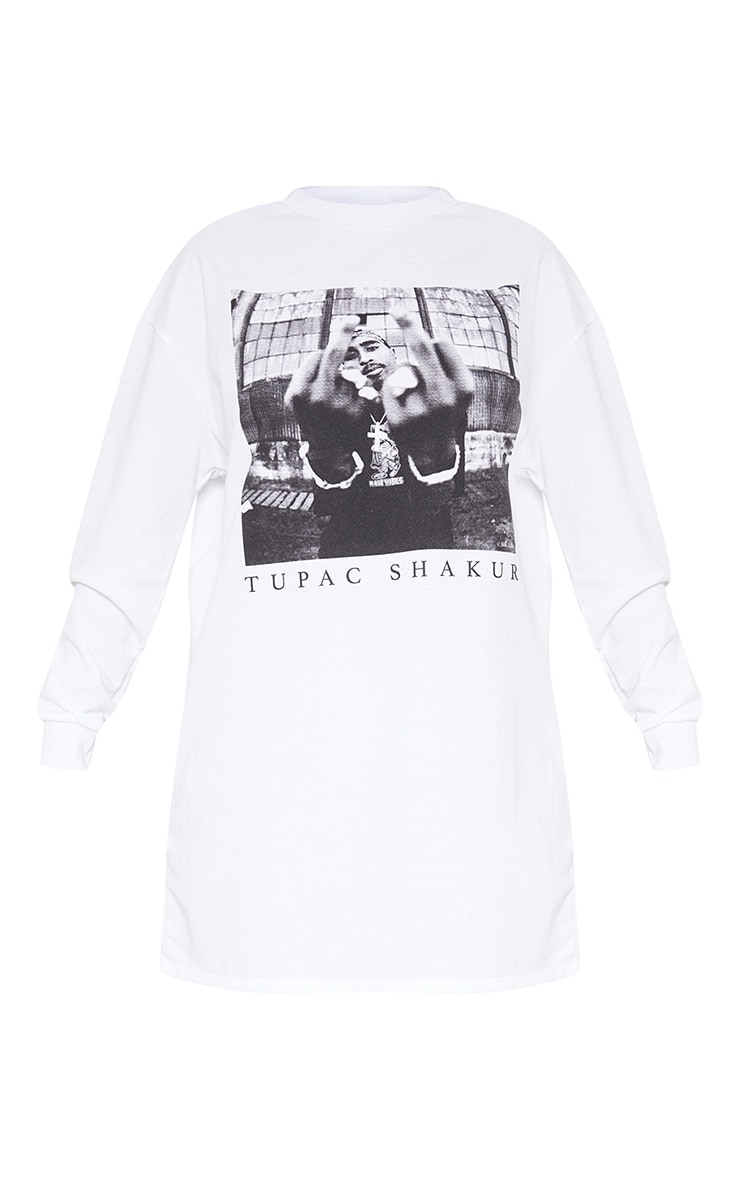 White Tupac Middle Finger Oversized Jumper Dress 3