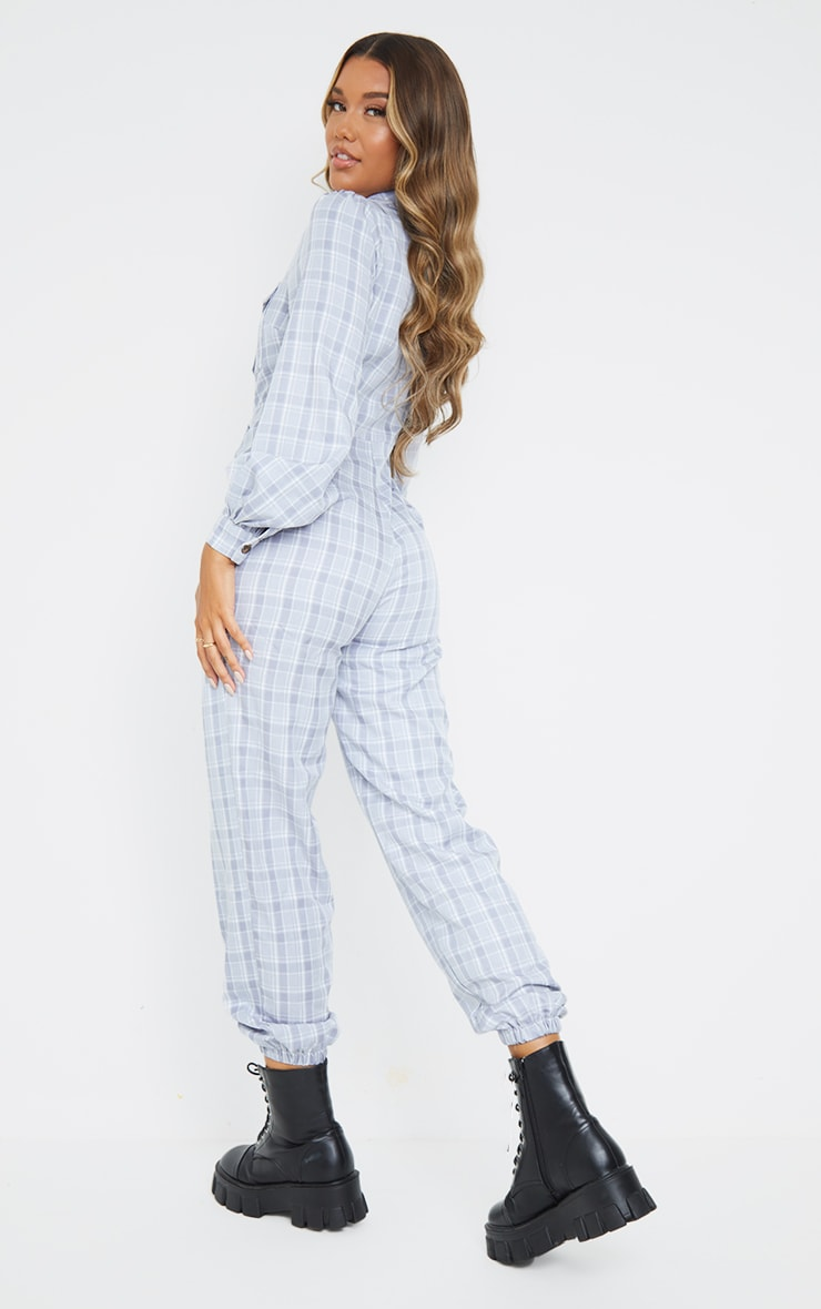 Grey Check Pocket Detail Shirt Jumpsuit 2