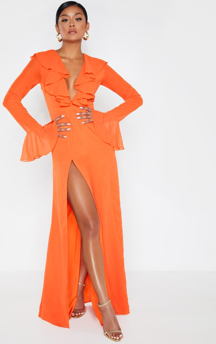 Bright Orange Plunge Frill Maxi Dress 4